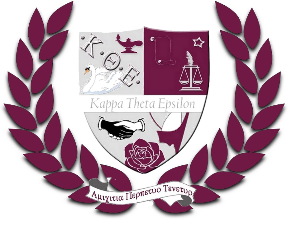 Kappa Theta Epsilon Sorority shield surrounded by laurel leaves